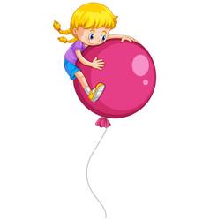 Cute girl and pink balloon vector