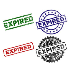 Damaged textured expired stamp seals vector
