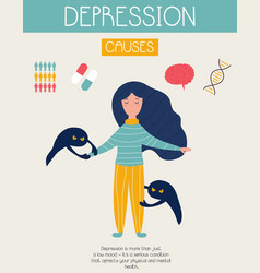 Depression banner with sad girl mental health vector