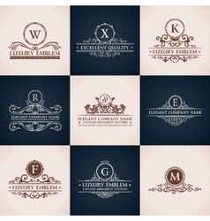 Design logo set Calligraphic pattern elegant vector image