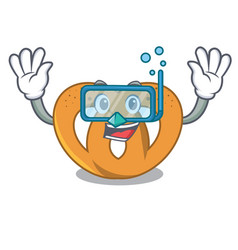 Diving pretzel character cartoon style vector