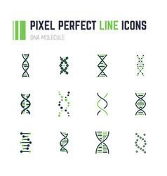 dna molecule icon set vector image vector image
