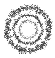 drawing floral round frames set vector image