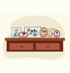 Dresser with family pictures memories decoration vector