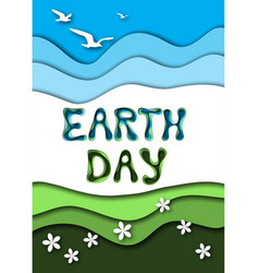 Earth day greeting card template with text sky vector