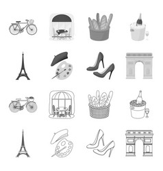 eiffel tower brush hat france country set vector image