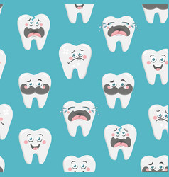 Endless wallpaper with emotional teeth art vector