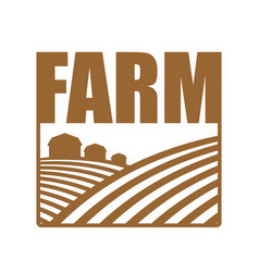 Farm logo agriculture sign arable land and farm vector