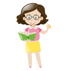 Female teacher with book and marker vector