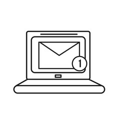 figure computer with virtual folder message icon vector image