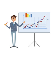 Financial analytic making presentation man in suit vector