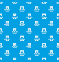 fireplace pattern seamless blue vector image