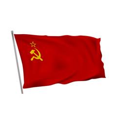 flag soviet union ussr on pole in wind vector image