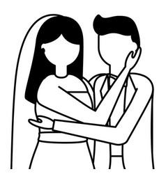 flat design wedding people groom and bride vector image