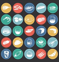 food set on color circles black background vector image