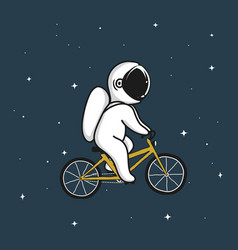 Funny astronaut rides on bicycle vector