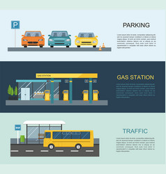 gas station bus parking vector image