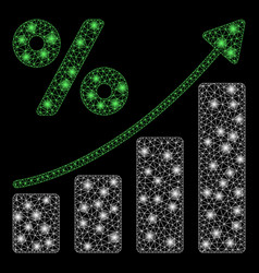 Glowing mesh wire frame percent growing graph vector