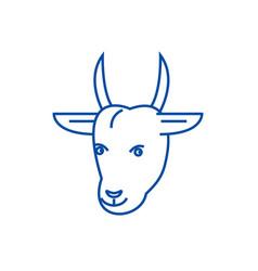 goat head line icon concept goat head flat vector image
