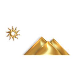 Gold sun god and pyramid symbols ancient egypt vector