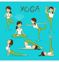 Hand-drawn yoga poses vector