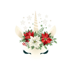 head of hand drawn unicorn with floral wreath on vector image