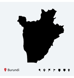 High detailed map of Burundi with navigation pins vector image