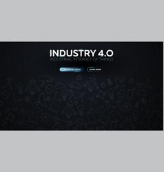 Industry 40 banner smart industrial revolution vector