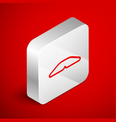 Isometric line homemade pie icon isolated on red vector