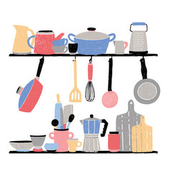 kitchenware on shelf hand drawn vector image