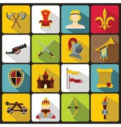 Knight medieval icons set flat style vector image
