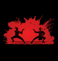 Kung fu fighting action battle graphic vector