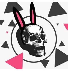 macabre skull with a hoop with pink ears vector image