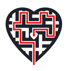 Maze in heart shape with red path leading to vector