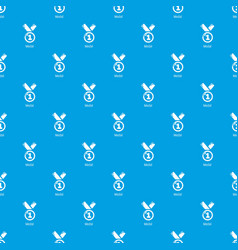 medal pattern seamless blue vector image