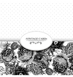 Monochrome Vintage Floral Card with Roses vector image