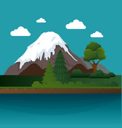 mountains landscape beautiful icon vector image