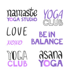 Namaste yoga studio love xoxo asana club vector