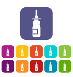 Nasal drops icons set flat vector