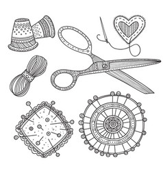 Needlework sewing tools vector