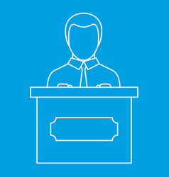 Orator speaking from tribune icon outline style vector