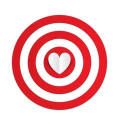 paper heart in center darts target aim vector image