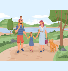 parents and children walking in park with dog pet vector image
