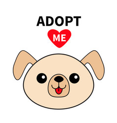 Pet adoption dog round face silhouette adopt me vector