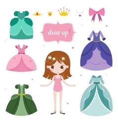 princess with beautiful set vector image