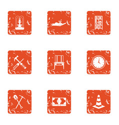 Private house icons set grunge style vector