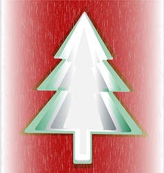 Red background green Christmas tree vector