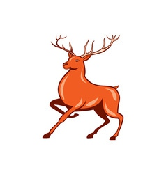 Red Stag Deer Side Marching Cartoon vector