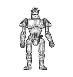 Robot cop sketch engraving vector