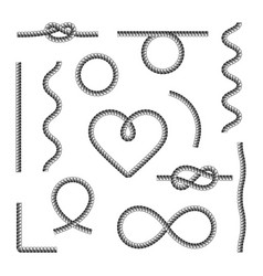 rope knots borders black thin line icon set web vector image